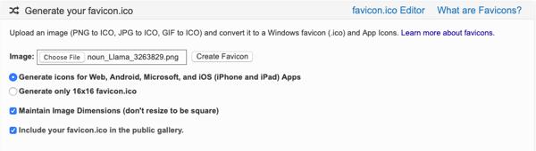 llama icon uploaded in favicon.ico & app icon generator, a popular favicon generator