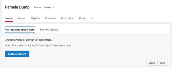Establezca contenido destacado en la página de inicio de su canal de Youtube.