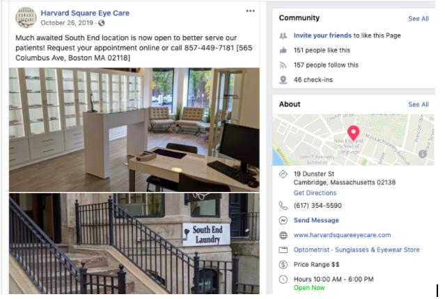 Harvard Square Eye Care's Facebook Business page