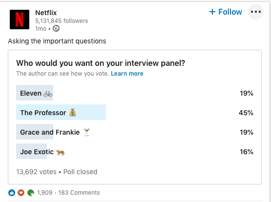 Netflix engaging their community on LinkedIn.