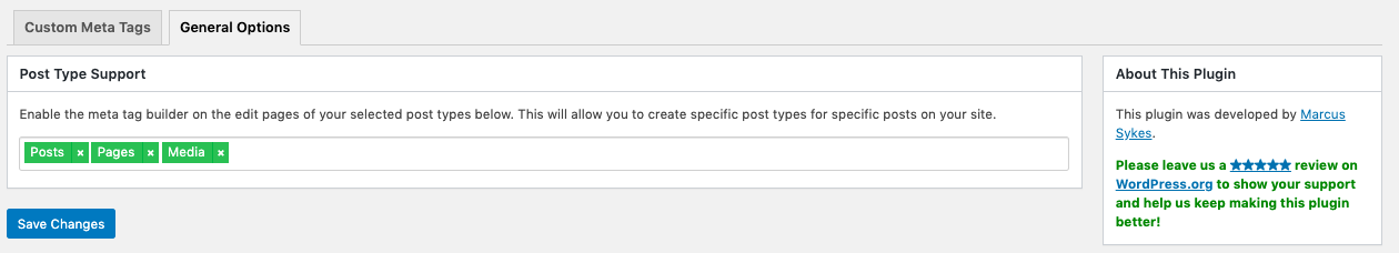 Configuring post type support in Meta Tag Manager plugin for WordPress