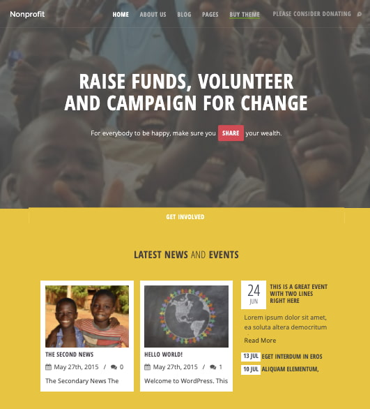 Nonprofit WordPress theme demo with slider header and event calendar