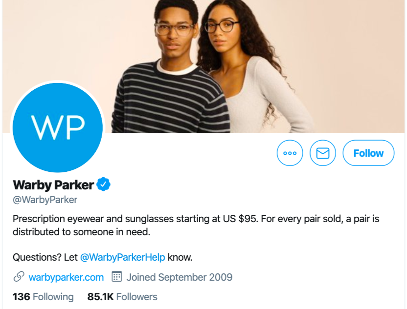 Example of Twitter ecommerce marketing - Warby Parker