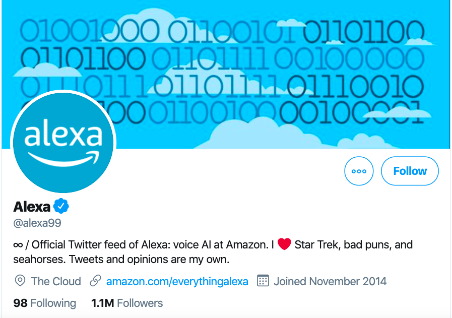 Example of Twitter e-commerce marketing - Alexa