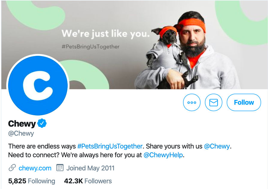 twitter ecommerce marketing example - chewy