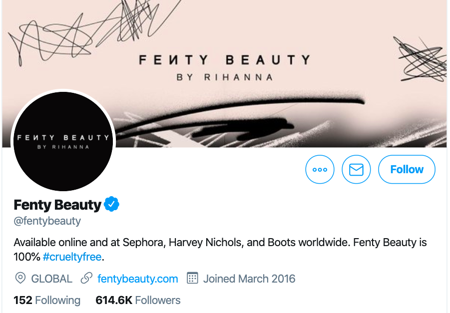 twitter ecommerce marketing example - fenty beauty