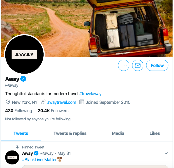 Twitter e-commerce marketing strategy with the striking profile of away