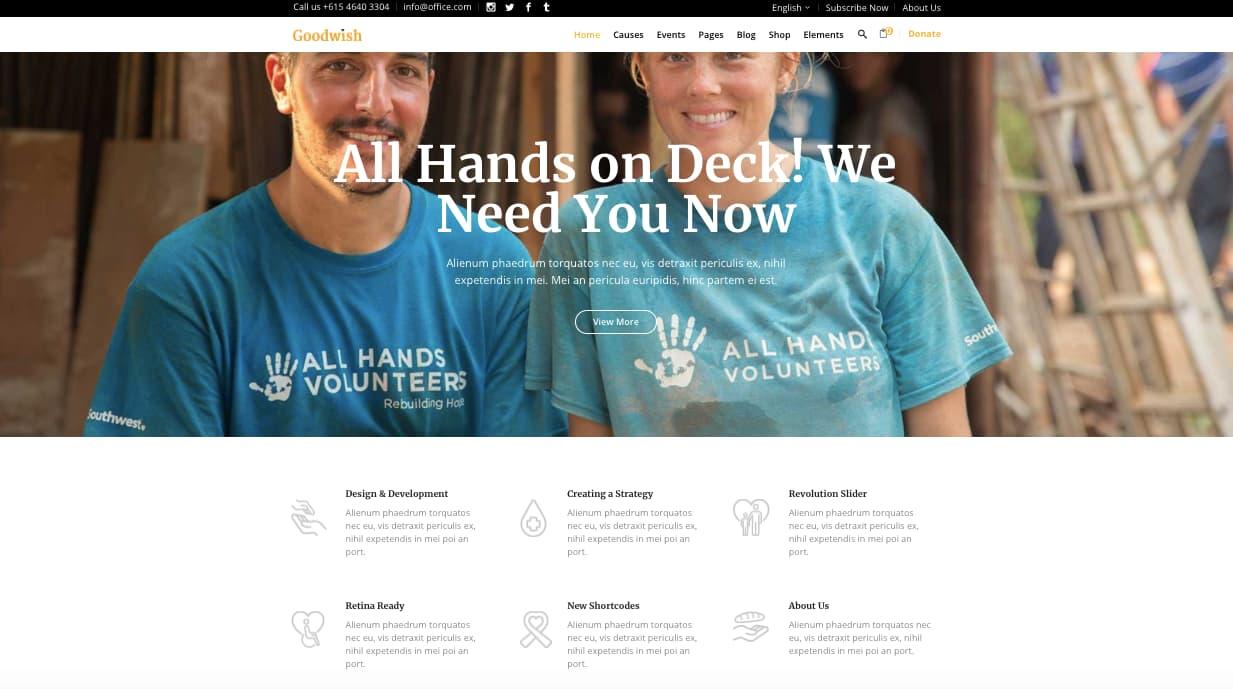 Volunteer demo in Goodwish WordPress theme