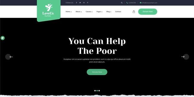 LoveUs theme demo WordPress theme for nonprofit organizations