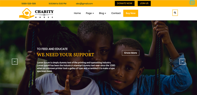 TS Charity theme demo WordPress theme for nonprofit organizations
