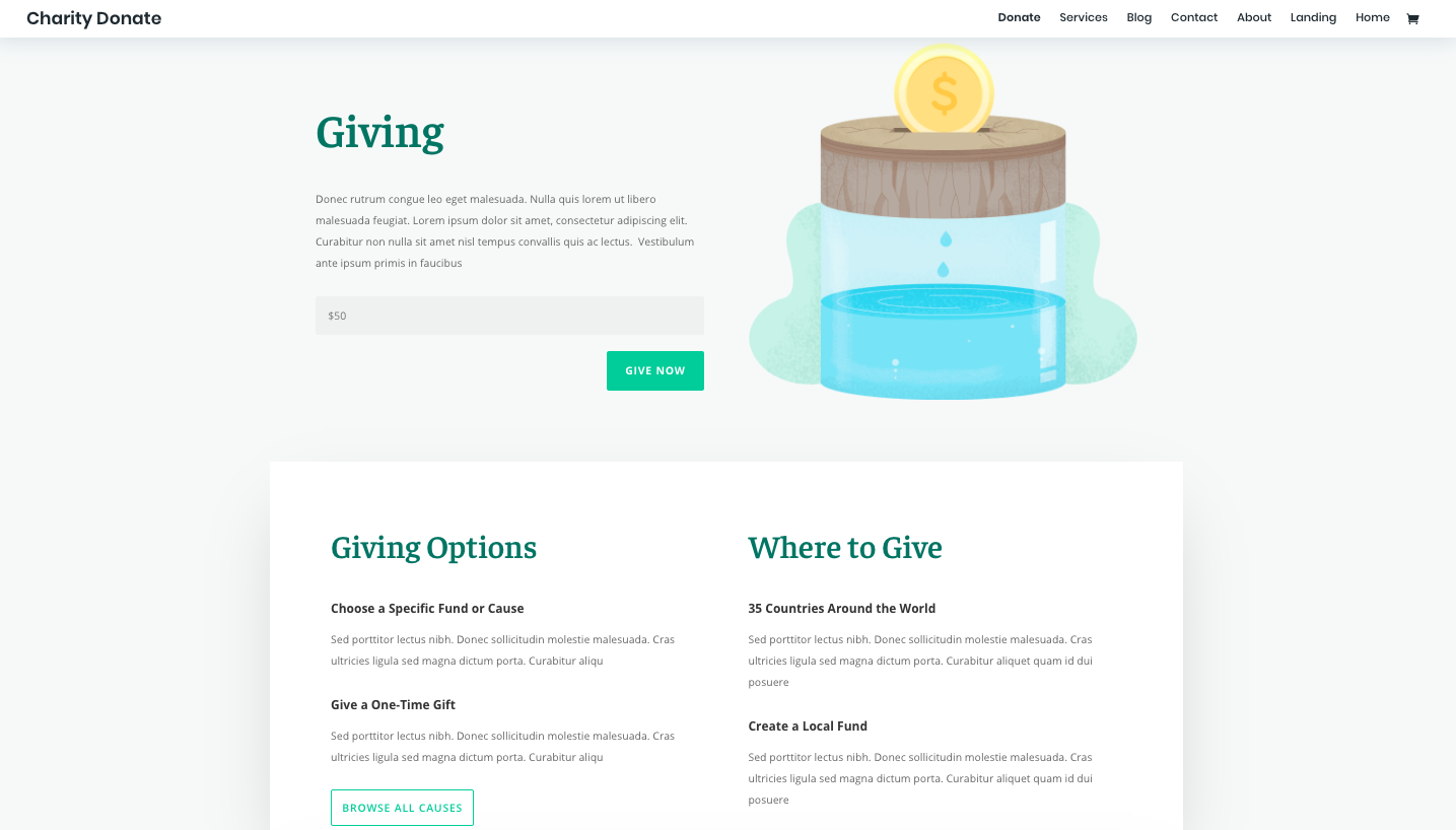 Charity Donate page available in Divi's Charity layout pack