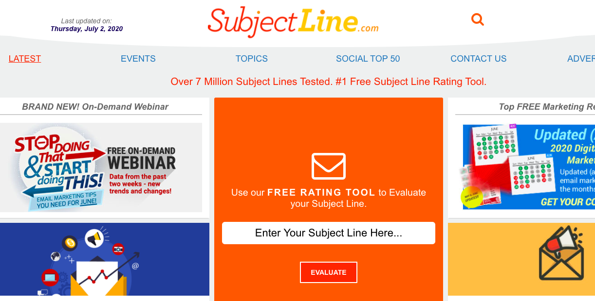 SubjectLine.com's homepage and tool.