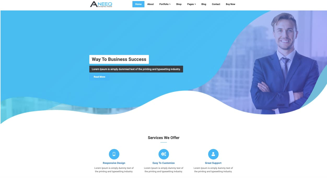 Aneeq WordPress business theme demo