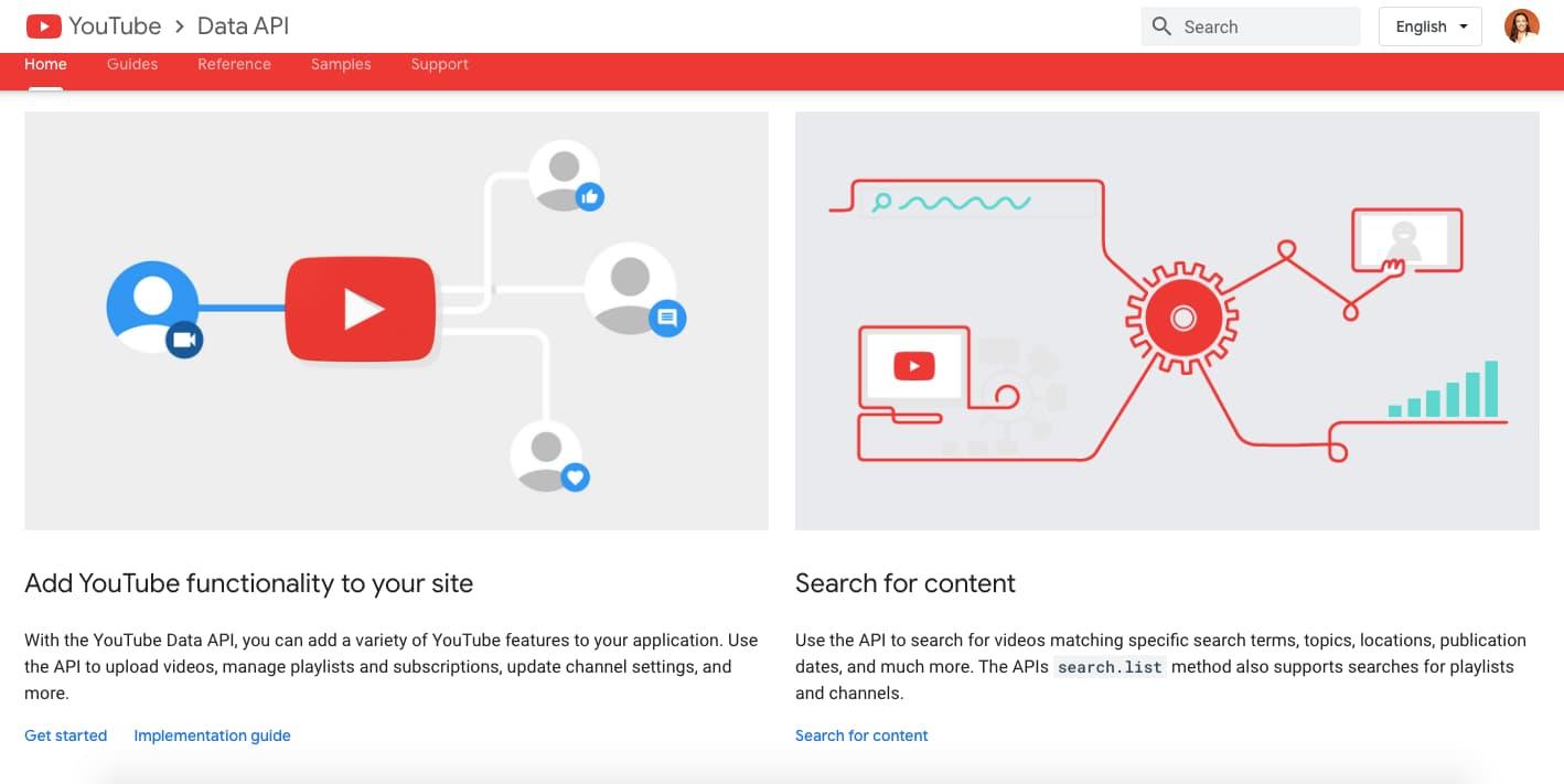 YouTube Data API homepage
