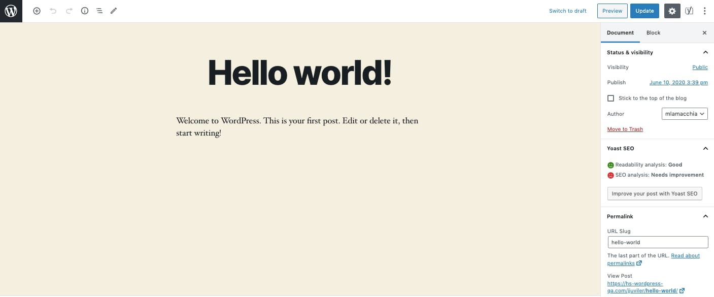 "WordPress WYSIWYG editor open to default ""Hello world!"" post"