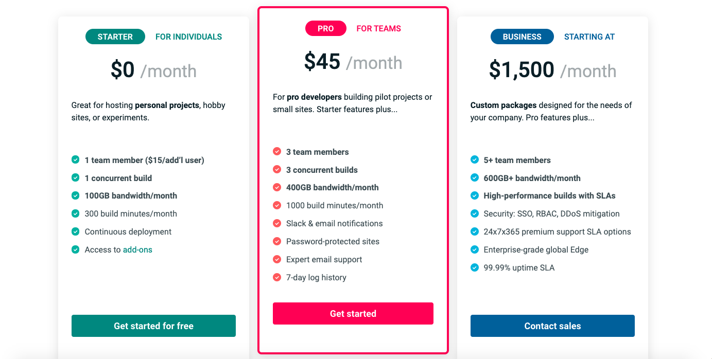 Netlify CMS pricing plans including free tier