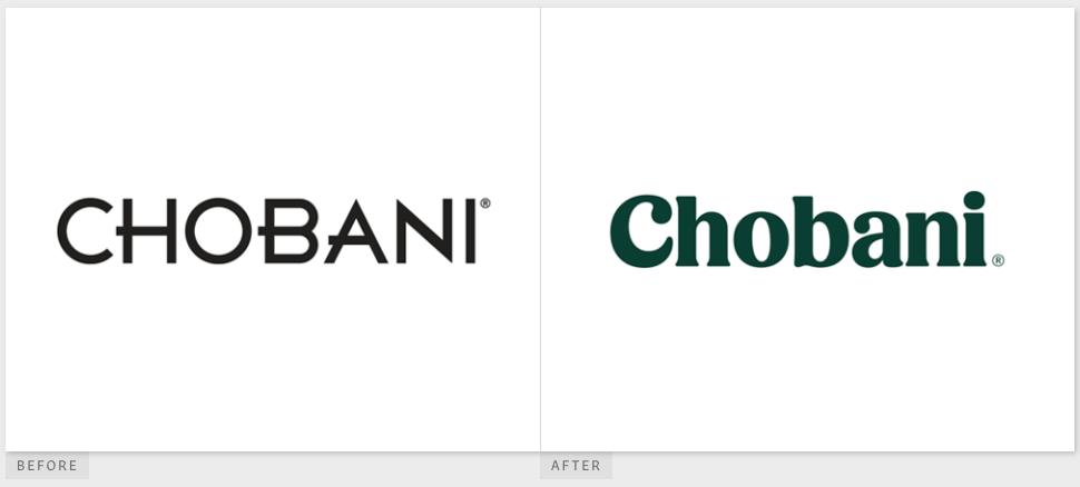 La tipografía de Chobani antes y después de su cambio de marca de 2017