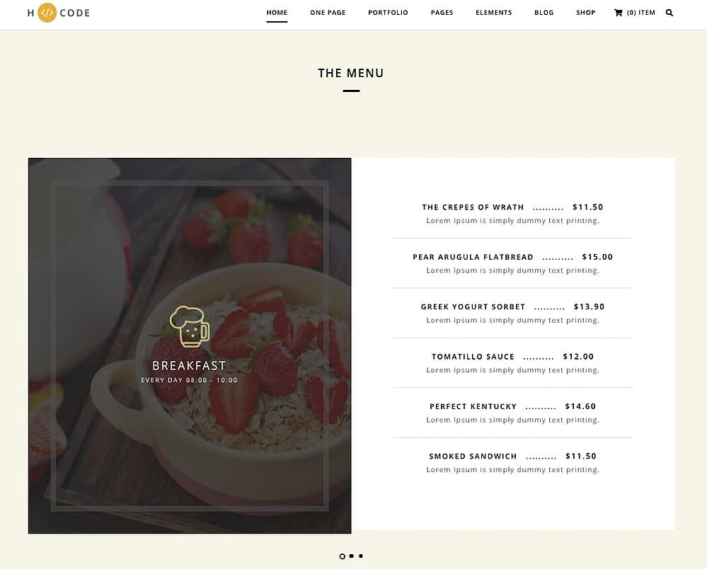 Menu section of the H-Code WordPress demo shows breakfast options for this mock restaurant