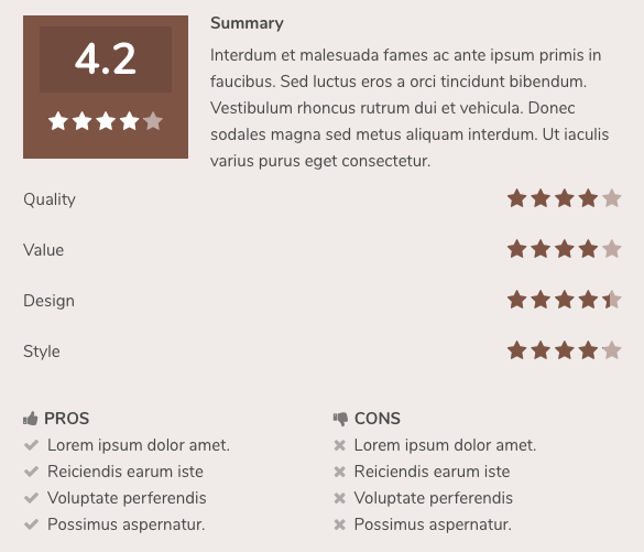 Xiaomi template with star ratings available with WP Review Pro plugin