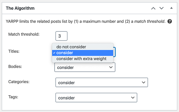 The Algorithm in Yet Another Related Posts Plugin settings page
