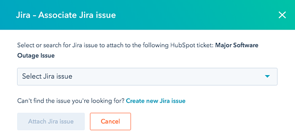 Image of Jira - Associate Jira issue dropdown menu