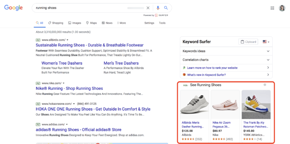 types of google ads google shopping ads