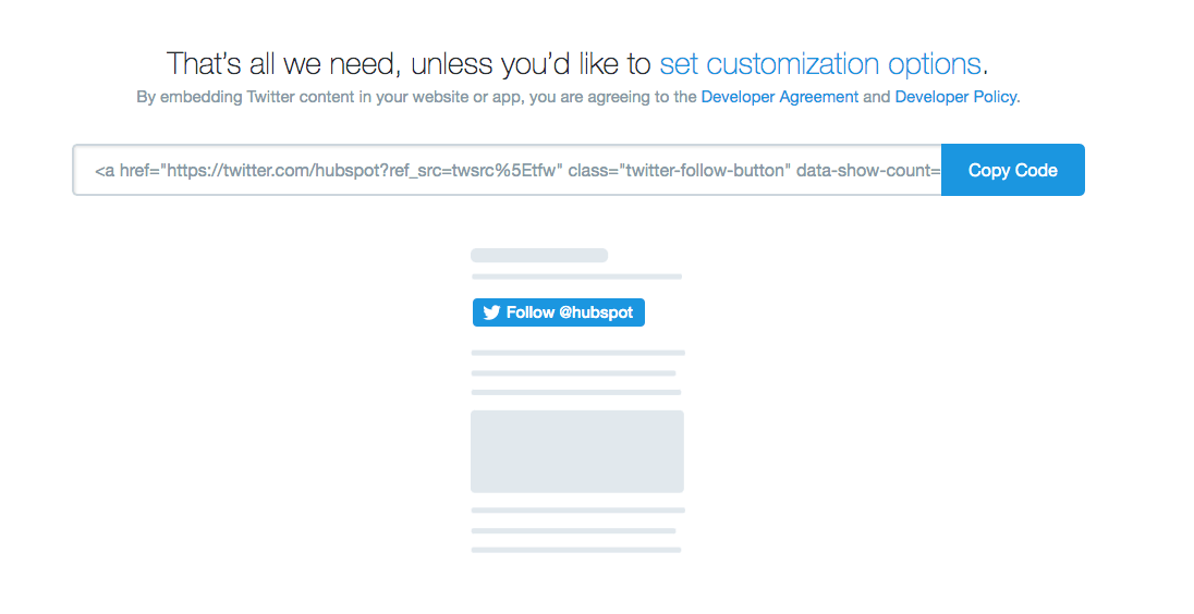 HTML for twitter follow button on twitter's developer page