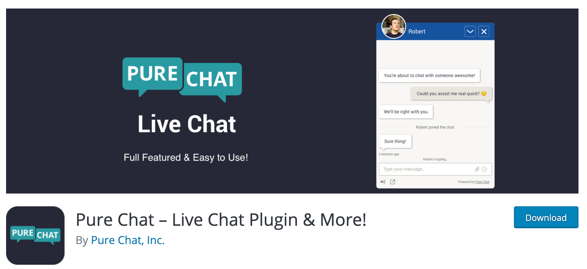pure chat live chat WordPress plugin