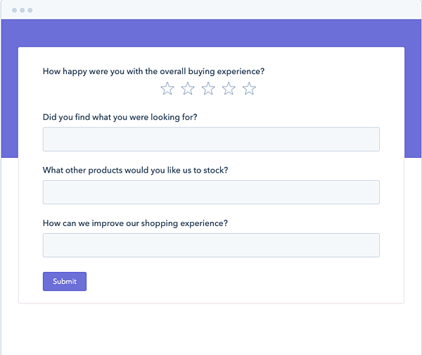 Screenshot of a sample feedback survey