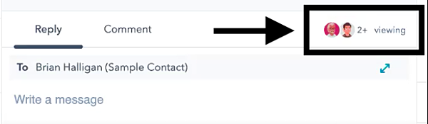 Contact message showing other user currently viewing that message