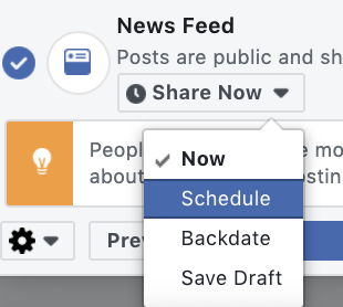 Switch to schedule in the newsfeed dropdown