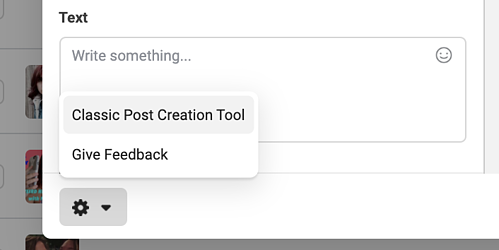 Click the classic tool to access the older version of Facebook's post creation tool