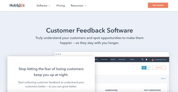 NPS survey tool example HubSpot Customer Feedback Software