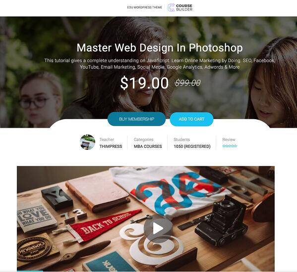 sample online wordpress course membership sign up page
