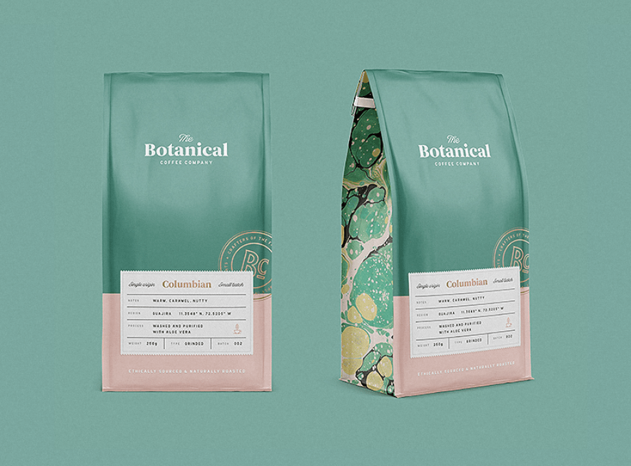 image of two bags of coffee with botanical on front