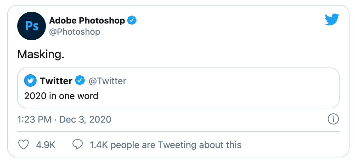 adobe photoshop tweet describing 2020 in one word: masking