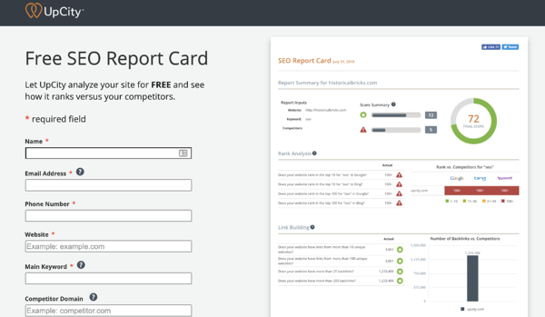 UpCity's Free SEO Report Card free seo tools