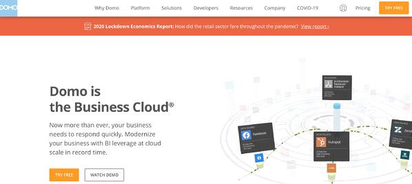 Business Intelligence and Data Reporting Tool Example domo