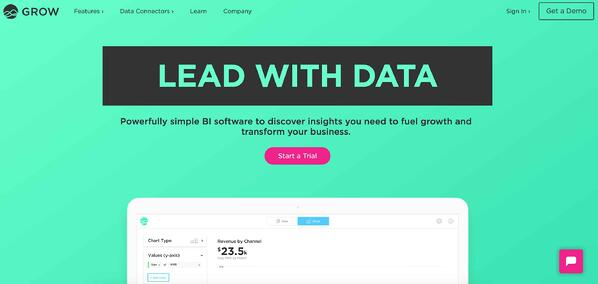 Business intelligence and data reporting tool sample Growth.com