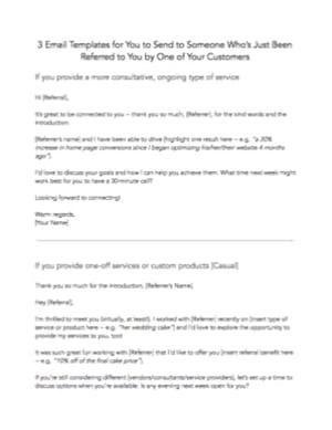 Customer Referral Templates