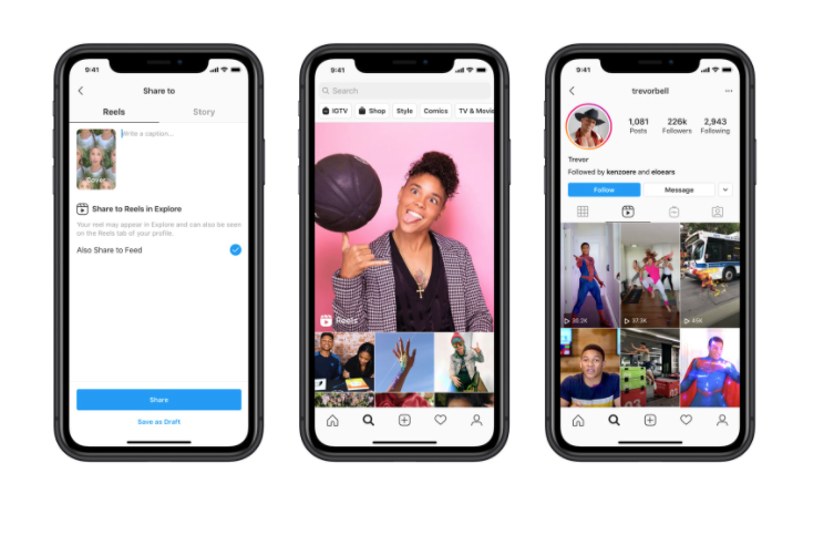 Instagram Reels shown on three separate phone screens