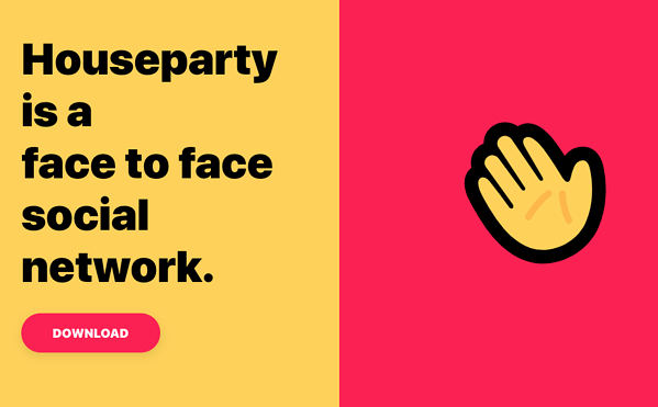 House party website homepage featuring a yellow and red background, yellow waving emoji and tagline.