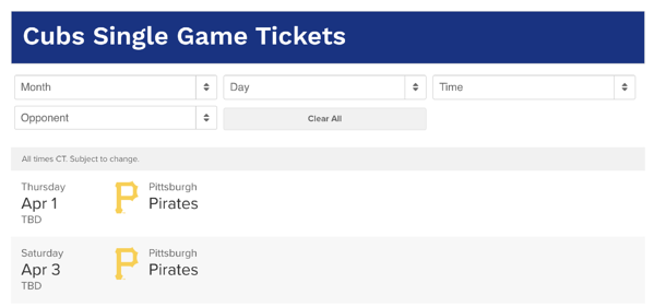 chicago cubs ticket dynamic pricing strategy example