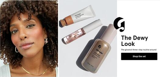 Glossier skincare products and a photo of a woman next to the products with the dewy look