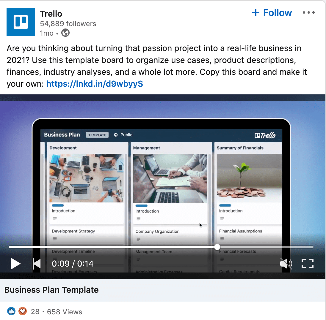 A Trello ad on LinkedIn.
