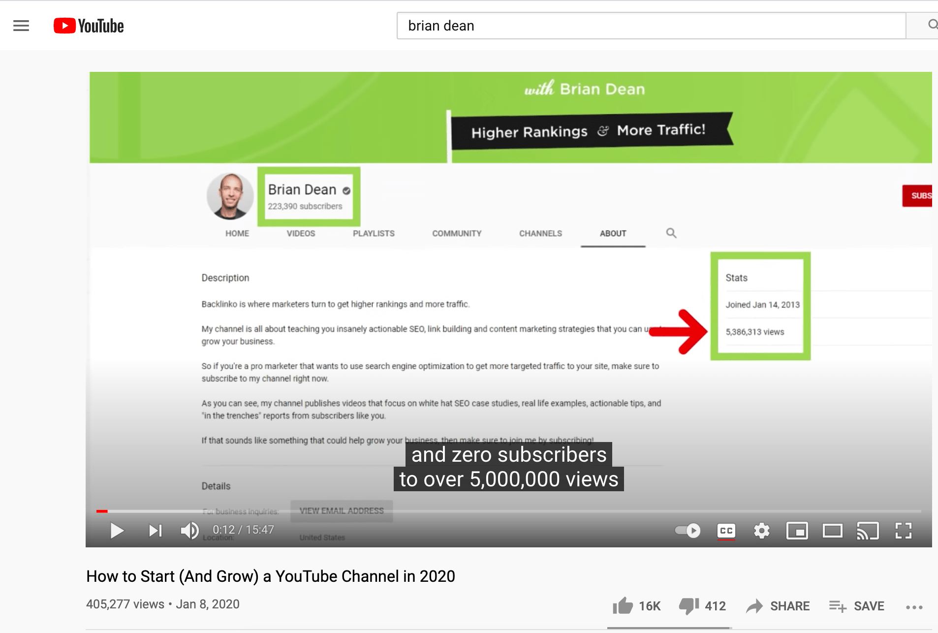 Brian Dean's video about growing a YouTube channel.