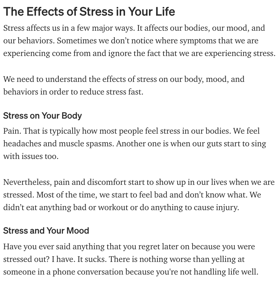 Effects of Stress in Your Life, How to Lead