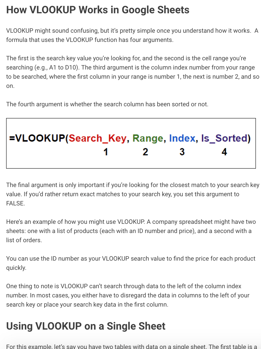 Google Sheets 'How VLookups Work' Guide