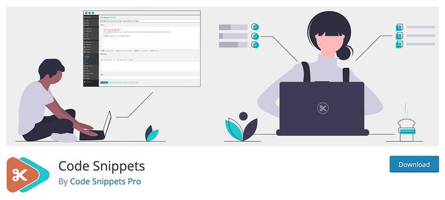 Code Snippets Pro WordPress Plugin download featuring an animated woman and man adding CSS customizations to their website