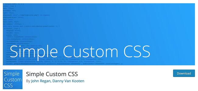 Simple Custom CSS Wordpress Plugin download page